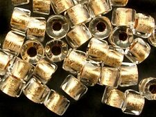 50 GOLD-lined CRYSTAL faceted roller large hole Czech glass beads - 5x4mm