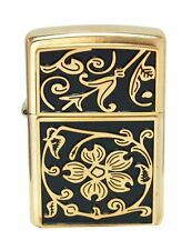 Zippo Windproof Brushed Brass Lighter With Floral Emblem, # 20903, New In Box