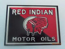 "RED INDIAN MOTOR OIL METAL WALL PLAQUE / SIGN 8"" X 6"" WITH FIXING PADS"