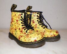 GIRL'S DOCTOR DR MARTENS YELLOW FLORAL ANKLE BOOTS SHOES SIDE ZIP SZ USA 7 CHILD
