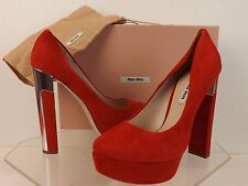 NIB MIU MIU PRADA RED SUEDE SILVER MIRROR HIGH HEEL PLATFORM PUMPS 37.5