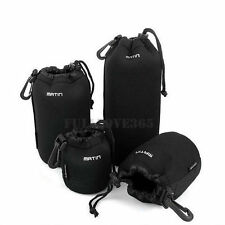 4pcs S+M+L+XL Neoprene Camera DSLR Lens Soft Waterproof Pouch Bag Case Bag Set F