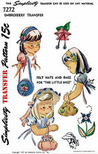 BABY Child GIRLS Toddler HAT & BAG Fabric Sewing Pattern SIMPLICITY # 7272 Vint
