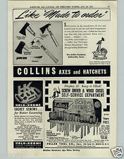 1951 PAPER AD Collins Tools Hatchet Axe Axes Hudson Bay Michigan Machete