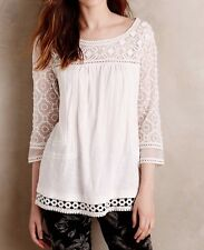 137091 NEW Meadow Rue Anthropologie Mantra Lace Tee Embroidered Blouse Top L