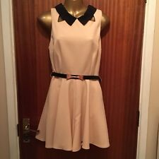 Topshop Nude Pink Black Full Skirted Cut Out Playsuit Peter Pan Collar Size 10