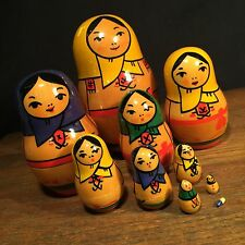 Vintage Russian Nesting Doll USSR 10 Dolls Stacking PRIORITY MAIL