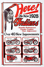 1928 INDIAN MOTORCYCLE POSTER ACE CHIEF SCOUT PRINCE SIDE CARS WALL OF DEATH