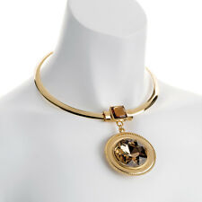 Fashion jewelry large oversized champagne crystal pendant gold collar necklace