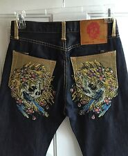 Don Ed Hardy Men's Dark Blue Jeans Skulls mens sz 30 x 32