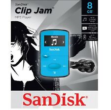 SanDisk Sansa Clip Jam 8GB Blue MP3 Player FM Radio Music USB MicroSD Slot NEW ✔