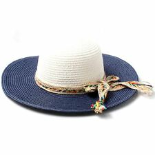 Women's Navy and White Wide Brim Straw Hat with Bow Detail