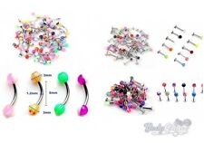 20 x Mixed Lot Curved Eyebrow Bars Labret Bars Lip Studs Ball Tragus Ear Rings