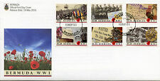 Bermuda 2016 FDC WWI The Great War 6v Set Cover First World War I Stamps