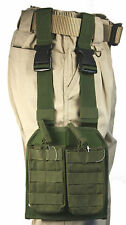 Olive MOLLE Webbing Leg Panel with 2 Open Top NATO Mag Pouches