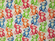 MONKEYS HANG MONKEY COLORFUL COTTON FLANNEL FABRIC FQ