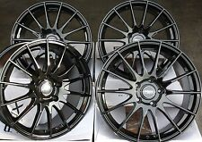 "18"" ALLOY WHEELS FITS AUDI A1 A3 TT VW GOLF POLO BEETLE FABIA IBIZA FX004 BLACK"