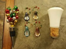 Two Holiday Christmas Wine Bottle Stoppers/Cork and Four Wine Glass Charms