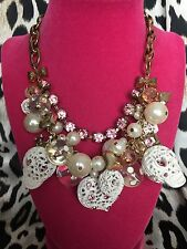 Betsey Johnson White Lace Sugar Skeleton Skulls Polka Dot Bow Crown Necklace