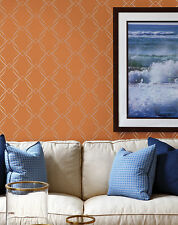Wallpaper Designer Gray Metallic Scroll Trellis on Orange