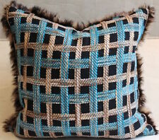 "Throw Pillow Made from Chanel Black and Blue Tweed and Rabbit Fur Trim, 19"" sq"
