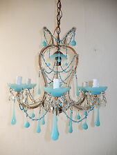 ~c 1920 French Blue Opaline Drops Beads Bobeches Crystal Swags Chandelier OLD~