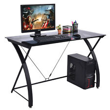 Tempered Glass Computer Desk PC Laptop Study Workstation Home Office Furniture