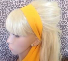 NEW PLAIN BRIGHT YELLOW COTTON FABRIC HEAD SCARF HAIR BAND SELF TIE BOW 50s 60s