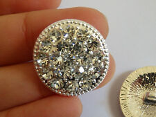 2 large crystal buttons rhinestone diamante wedding upholstery silver round UK