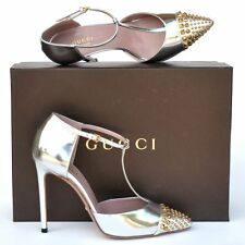 GUCCI New sz 38.5 8.5 Designer Gold Tone Studded Womens High Heels Shoes silver