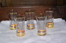 5 Crystal Whisky Tumblers Wine Cocktail Glasses Hand Blown Gold Pin Lined