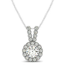 1.45 CT FOREVER ONE MOISSANITE ROUND MICRO PAVE HALO PENDANT
