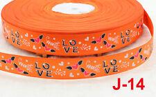 2 yds 25mm Orange love Printed Grosgrain Ribbon Polyester Sewing Crafts DIY Bow