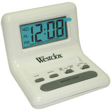 "Westclox 47539 Celebrity Glo-Clox Compact Travel Alarm Clock, White, 0.8"" LCD"