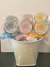 15 Elephant Baby Shower Personalized Birthday Lollipops pink, blue or yellow