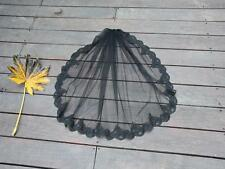 85cm 1 Tier Black lace Edge wedding bridal veil Elbow length with comb