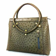 100% Authentic Ostrich khaki Leather Tote Hand Bag (2429)