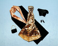 WILD Black & Gold Velvet Feel Gown Genuine BARBIE Dress w/ Heels Jacket & Purse