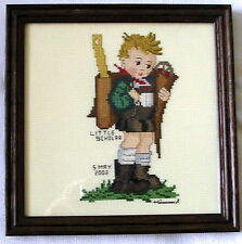 Finished counted cross stitch HUMMEL LITTLE SCHOLAR frame glass completed