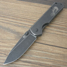 Sanrenmu SRM 6.5 inch Black Stonewashed Monolock Folding Knife 7010LUY-SHF