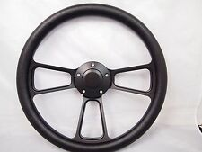 "Boat Black Billet steering wheel W/Adapter 3 spoke boats 3/4"" tapered key Marine"
