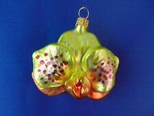 Yellow Orchid Garden Flowers Poland Glass Christmas Tree Ornament 022024