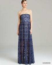 NWT VERA WANG Size 6 Blue Lace Gown Piping Detail Maxi Dress Gown