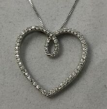 .33 TCW Natural Diamond 14K White Gold Heart Pendant on a 18 inch Chain