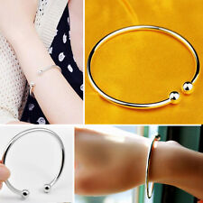 Simple Korean 925 Sterling Silver Plated Womens Open Cuff Bangle Bracelet Gift