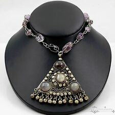 Antique Vintage Deco Sterling Silver Plated Agate & Amethyst Estate Necklace!