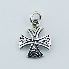 Silver pendant hand crafted 925 sterling Small Canterbury Celtic Cross 24mm ht