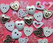 PERFECT UNION Love Heart Wedding Novelty Dress It Up Craft Button Embellishments