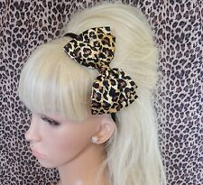 "NEW ANIMAL LEOPARD PRINT SATIN FABRIC 5"" DOUBLE SIDE BOW ALICE HAIR HEAD BAND"