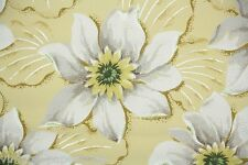 1940s Vintage Wallpaper Large Tropical Yellow and White Flowers